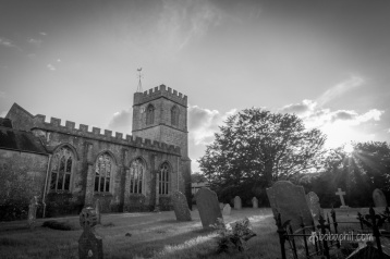 A shot from the graveyear in Haselbury Plucknett of the church.